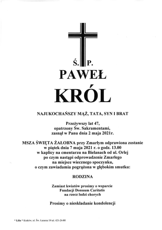 Msza święta żałobna za śp. Pawła Króla